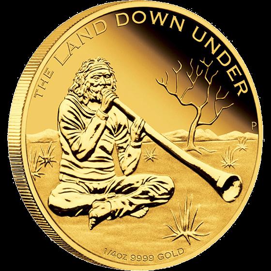 Australia 2013 25$ Didgeridoo 2013. The Land Down Under 1/4 oz Proof Gold Coin