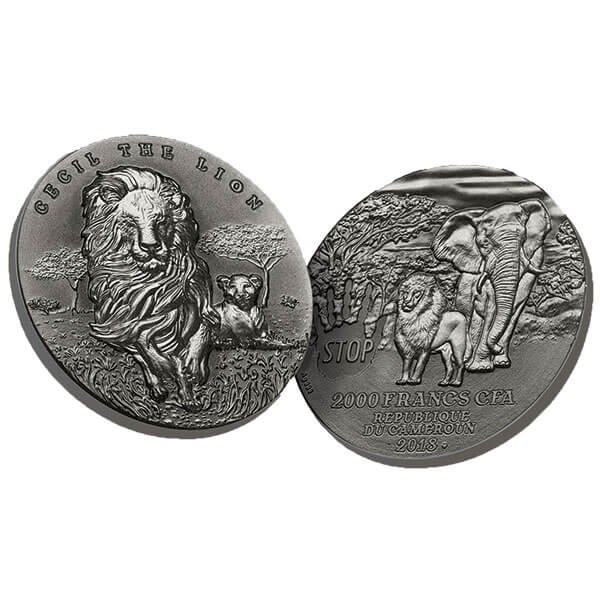 Cecil The Lion 2 oz Antique finish Silver Coin 2000 Francs Cameroon 2018
