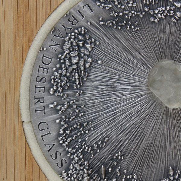 Libyan Desert Glass Meteorite Art 5 oz Antique finish Silver Coin 5000 Francs CFA Republic of Chad 2017