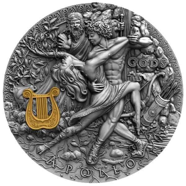 Apollo Gods 2oz Antique finish Silver Coin 2$ Niue 2020