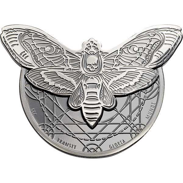 Death's Head Hawkmoth 2 oz Proof Silver Coin 1500 Shillings Tanzania 2018