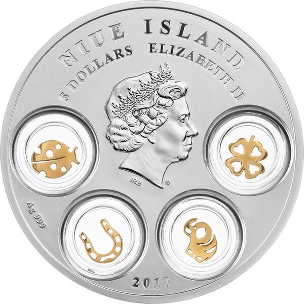 Good Luck Charms 77.75g Proof Silver Coin 5$ Niue 2017