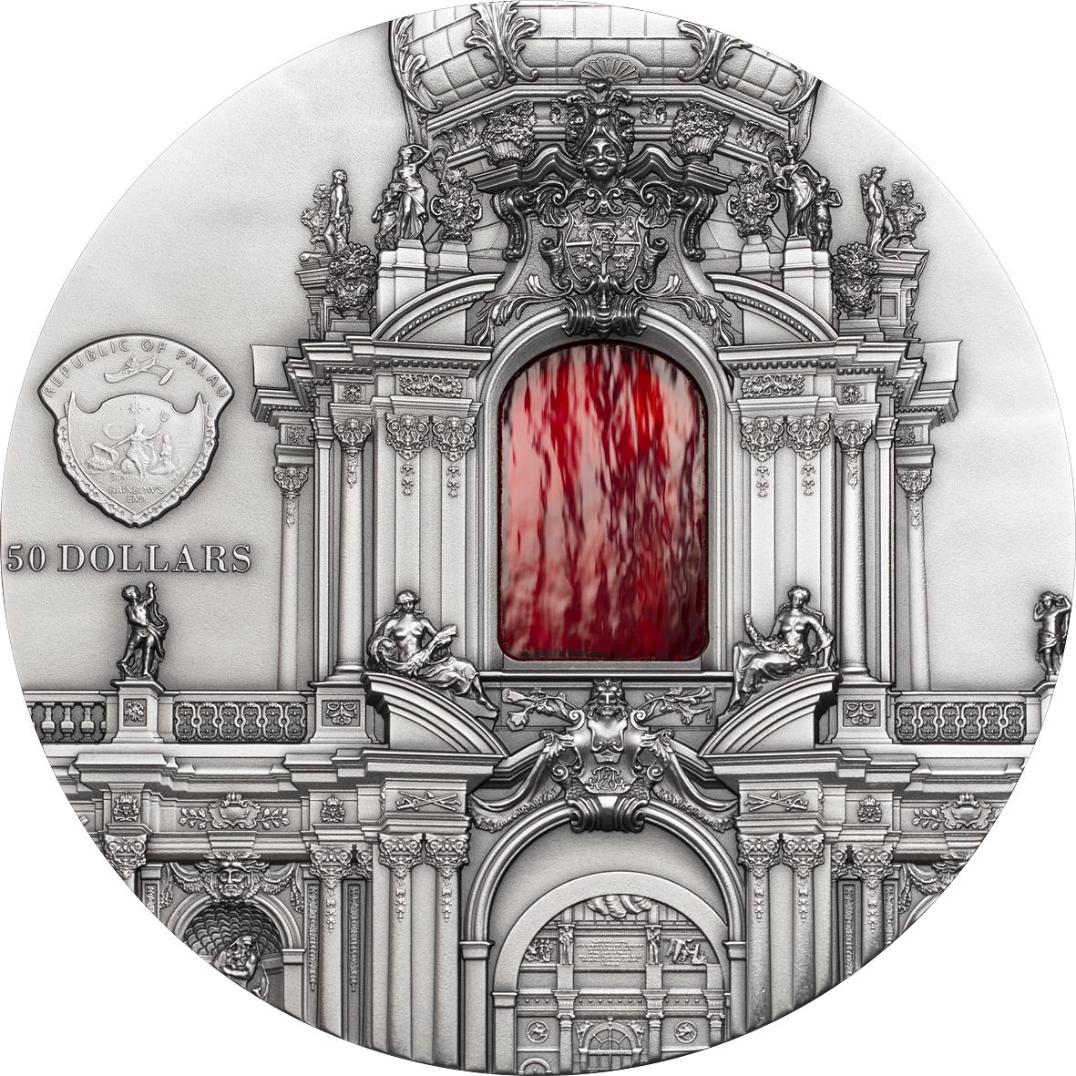 Palau 2014 50$ Baroque Dresden Tiffany Art 1 kg  Antique finish Silver Coin