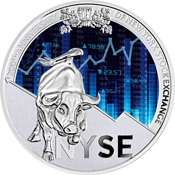 200th Anniversary of New York Stock Exchange 1 oz Proof Silver Coin 1000 Francs Cameroon 2017