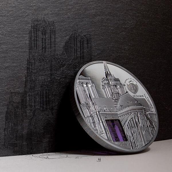 Notre-Dame Tiffany Art Metropolis 5 oz Black Proof Silver Coin 25$ Palau 2021
