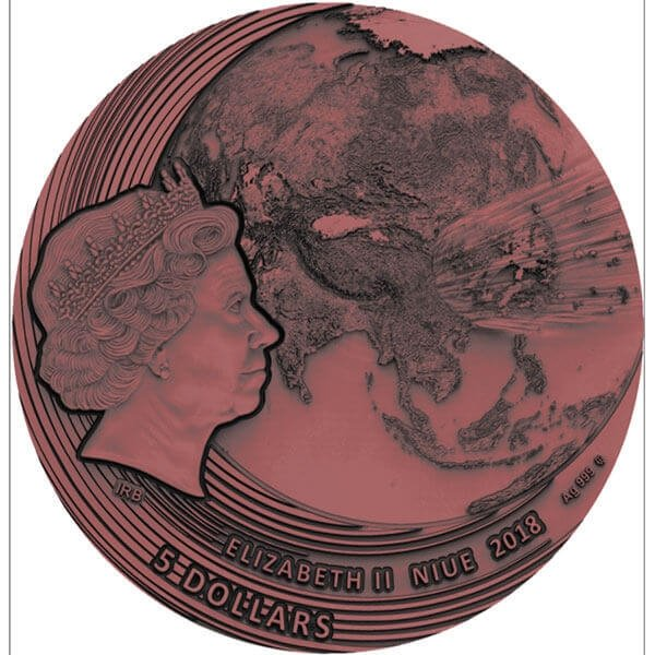 Fukang World of Meteorites 2 oz Antique finish with Meteorite Silver Coin 5$ Niue 2018