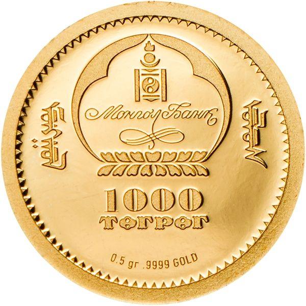 Mongolia 2017 1000 togrog Red Deer – Cervus Elaphus Proof Gold Coin
