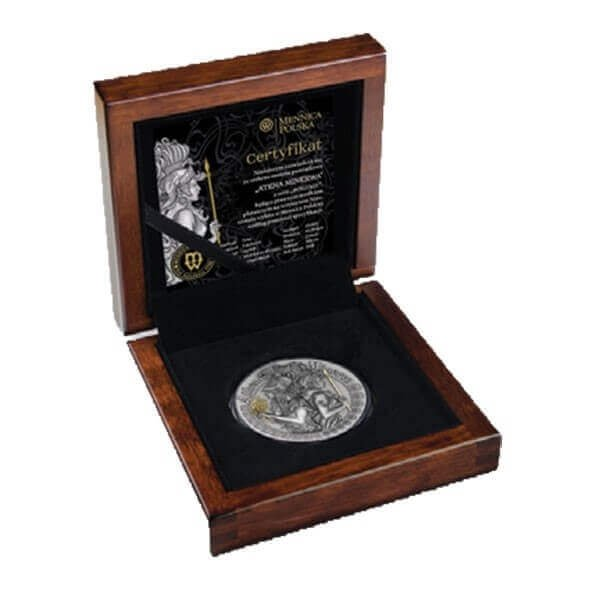 Athena and Minerva Goddesses 2 oz Antique Finish Silver Coin 1$ Niue 2019
