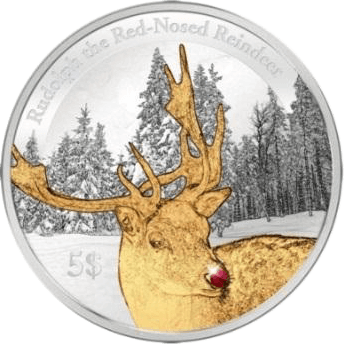 Christmas - Rudolph the Rednosed Reindeer Proof Silver Coin 5$ Kiribati 2012