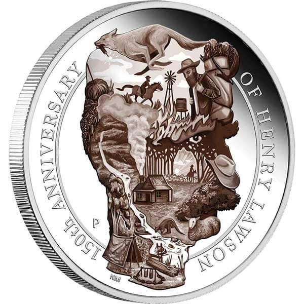 Henry Lawson 150 Anniversary  5 oz Proof  Silver Coin 8$ Australia 2017
