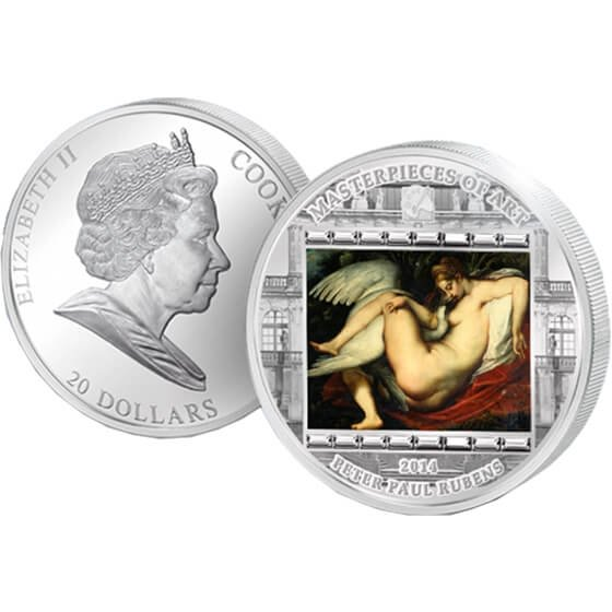 """Cook Islands 2014 20$ """"Leda and the Swan"""" Peter Paul Rubens  Masterpieces of Art 3 oz Proof Silver Coin"""