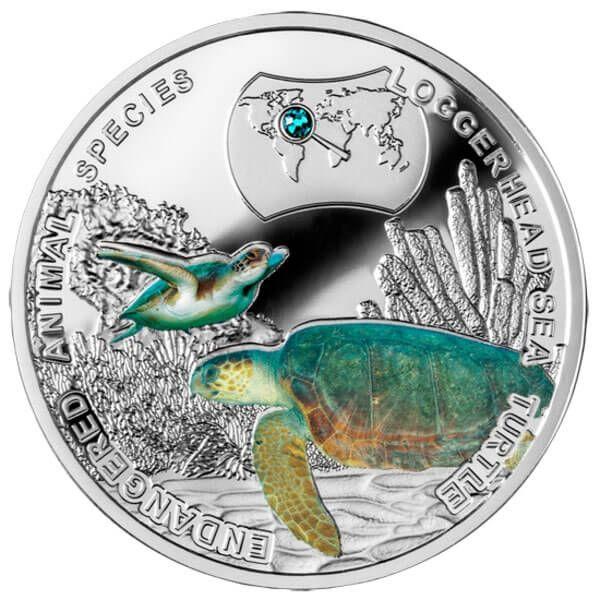 Loggerhead Sea Turtle - Endangered Animal Species 1/2 oz Proof Silver Coin 1$ Niue 2014