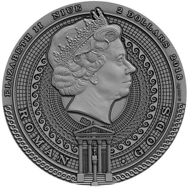 Niue 2018 2$ Bellona - Roman Gods 2oz Antique Finish Silver Coin