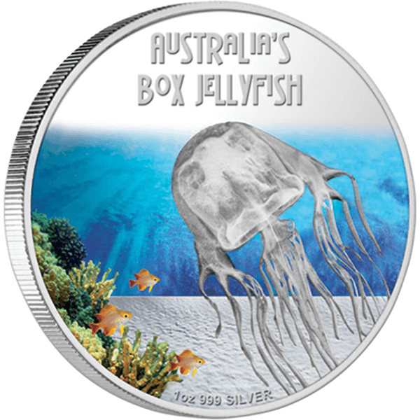Australia's Box Jellyfish Deadly and Dangerous Proof Silver Coin 1$ Tuvalu 2011