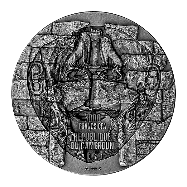 Mask of Agamemnon 3 oz Antique finish Silver Coin 3000 Francs CFA Cameroon 2021