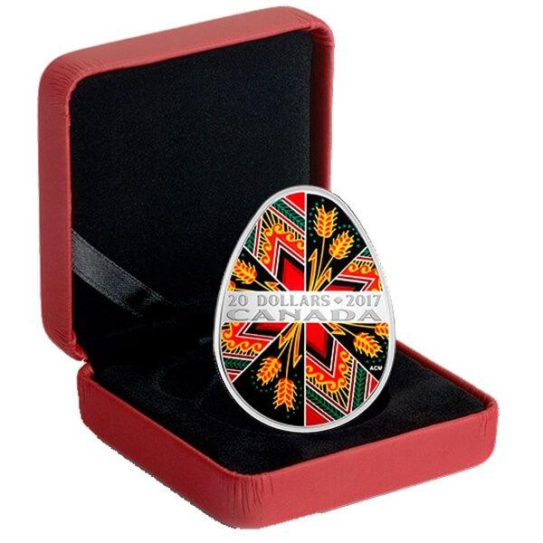 Canada 2017 20$ Traditional Ukrainian Pysanka Easter Egg 1oz Proof Silver Coin