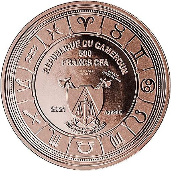 Virgo Zodiac Signs Proof Silver Coin 500 Francs CFA Cameroon 2021