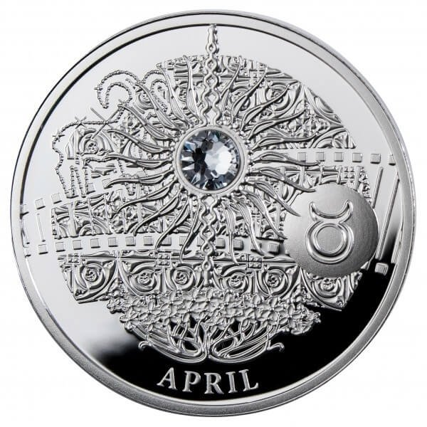 APRIL  The Magic Stones of Happiness  Proof silver Coin 1$ Niue 2013