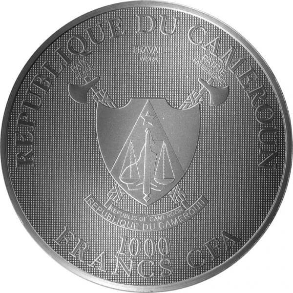 Laacher Sea Mountains of Fire  1 oz BU Silver Coin 1000 Francs CFA Cameroon 2020