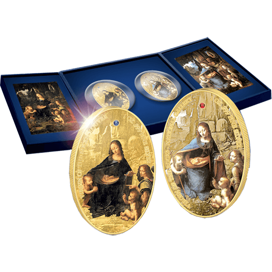 Ascension Island 2014 2 x 50 Pence Virgin of the Rocks(Louvre, National Gallery London) Proof Silver Set