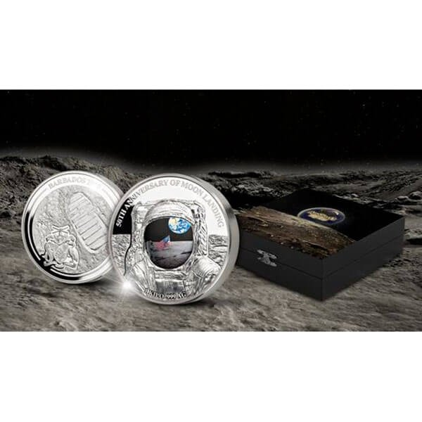 50th Anniversary of Moon Landing 1 Kilo Proof Silver Coin 25$ Barbados 2019