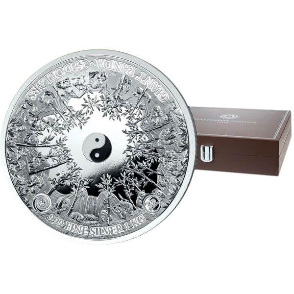 Precious Nature Panda Black Premium Edition 1000g Proof-like Silver Coin 10000 Francs Benin 2020