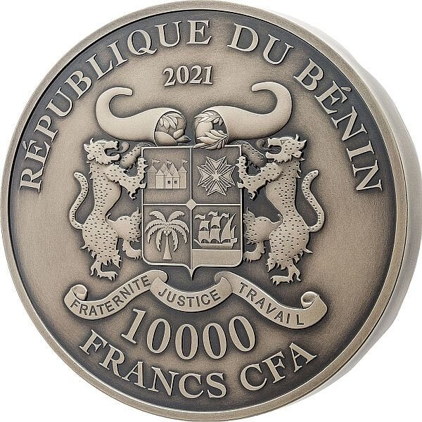 Mouth of Truth Bocca della Verita 1 Kilo Antique Finish Silver Coin 10000 Francs Benin 2021