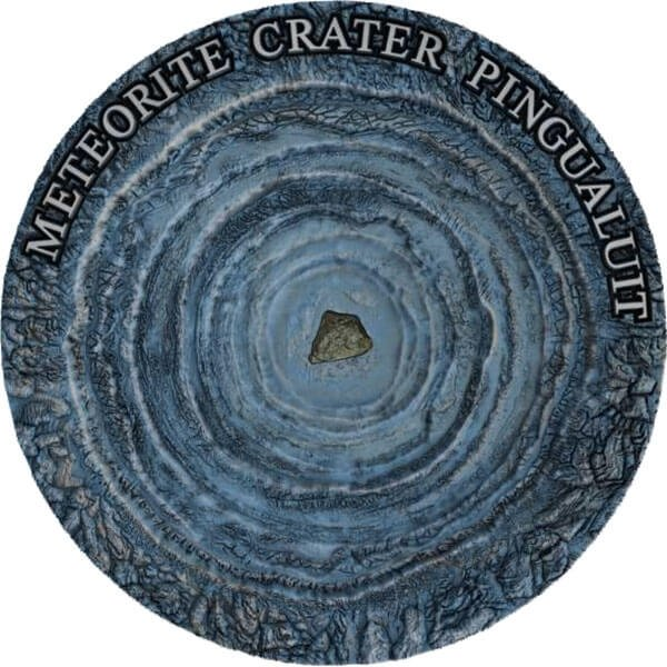 Pingualuit Meteorite Crater 1 oz Antique finish Silver Coin 1$ Niue 2018