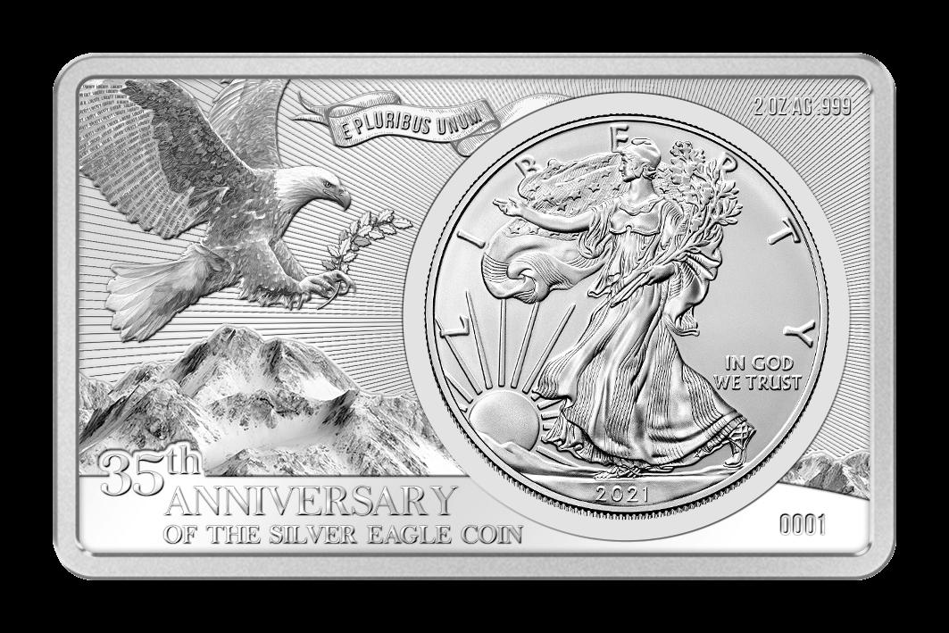 Silver Eagle 35th Anniversary 2oz & 1 oz Proof & BU Silver Coin 1$ United States 2020
