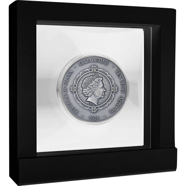 Phoenix and Dragon Oriental Culture Collection 50 g Antique finish Silver Coin 10 Cedis Republic of Ghana 2021