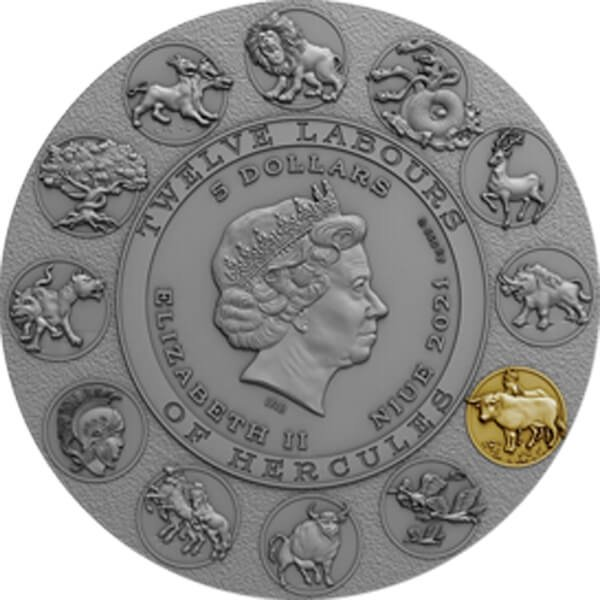 Augean Stables Twelve Labours of Hercules 2 oz Antique finish Silver Coin 5$ Niue 2021