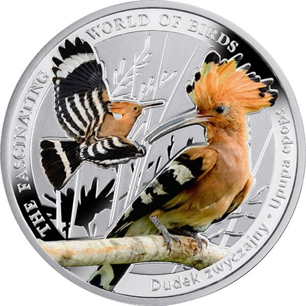 Hoopoe The Fascinating World of Birds 1/2 oz Proof Silver Coin 1$ Niue 2014