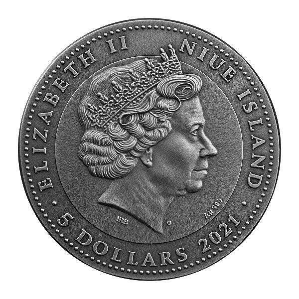 Zorro 2 oz Antique finish Silver Coin 5$ Niue 2021