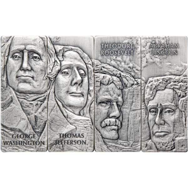 Mount Rushmore 4 x 1 oz Antique Finish Silver Set 4x5$ Barbados 2021