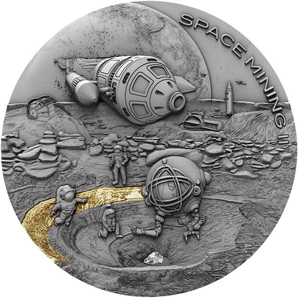 Space Mining II Real Meteorite Antique finish Silver Coin 1$ Niue 2019