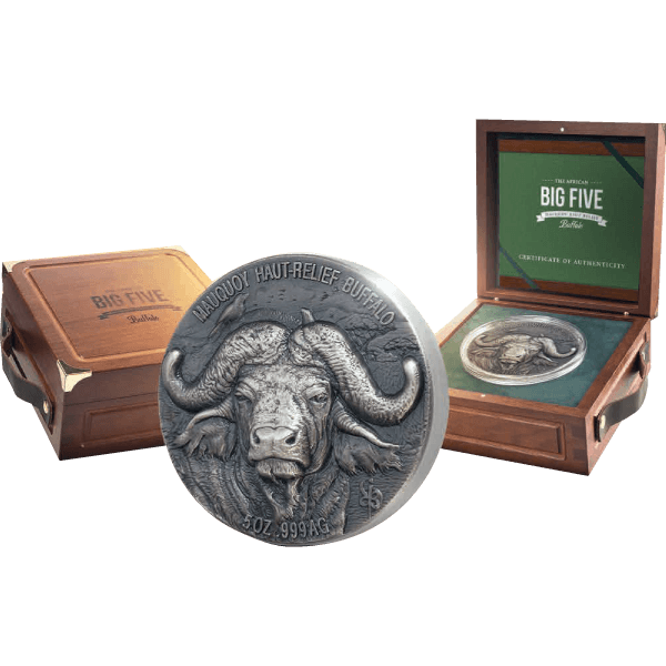 Mauquoy Haut Relief Water Buffalo Big five 5 oz Antique finish Silver Coin 5000 francs Ivory Coast 2020