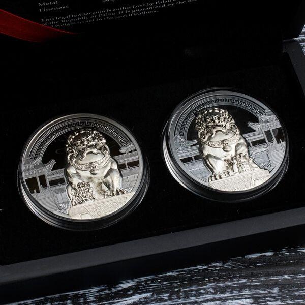 Chinese Guardian Lions 2 oz Proof Silver Set 2x10$ Palau 2017