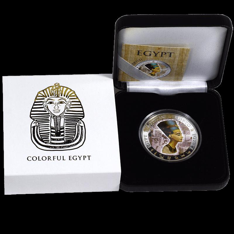 Fiji 2012 1$ Nefertiti Egypt Queen Nofretete Golden and Colorful Egypt Proof Silver Coin