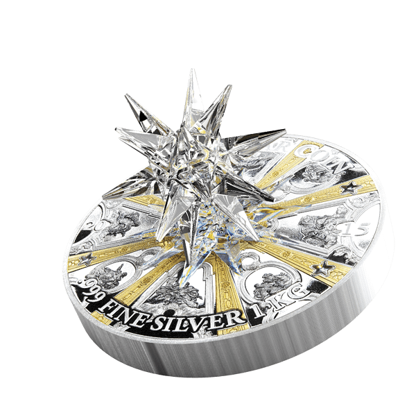 Cook Islands 2015 100$ Crystal Giant Moravian Star Dresden Frauenkirche  1 Kilo Proof-like Silver Coin