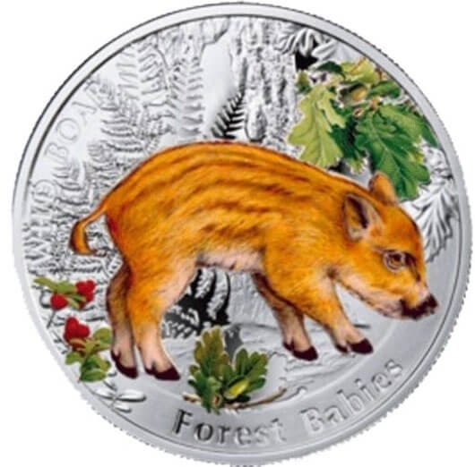 Wild Boar Forest Babies  Proof Silver Coin 1$ Niue 2014