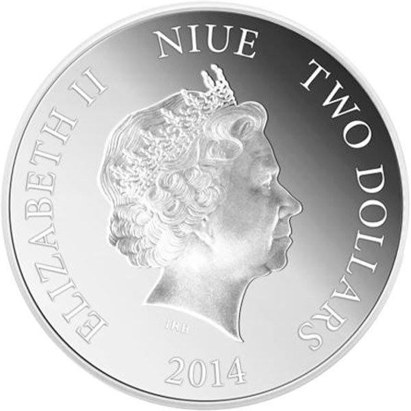 Niue 2014 2$ Year of the Horse  Gold Plated Silver Coin