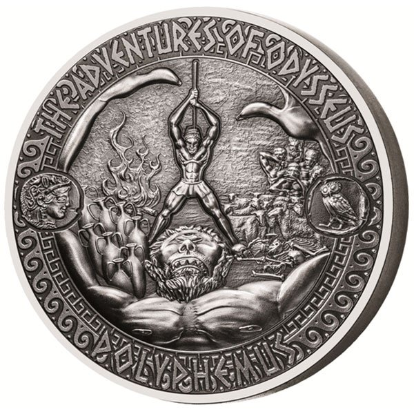 The Defeat of Polyphemus The Adventures of Odysseus 2 oz Antigue finish Silver Coin 5$ Solomon Islands 2018
