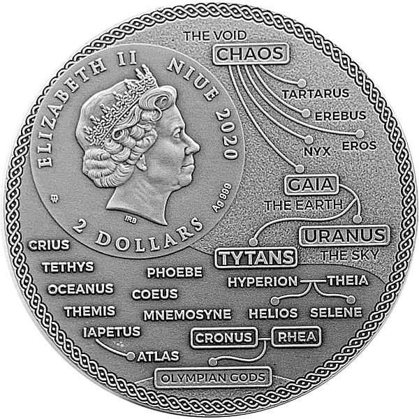 Atlas Titans 2 oz Antique Finish Silver Coin 2$ Niue 2020