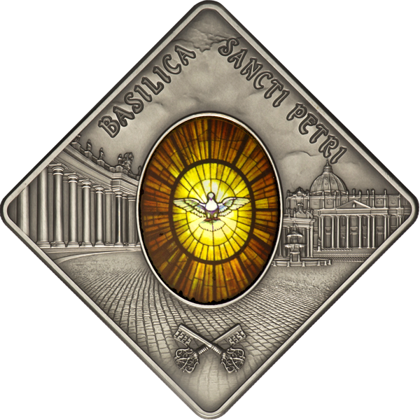 Palau 2011 10$ St. Peters Basilica Sacred Art - Holy Windows UNC Silver coin