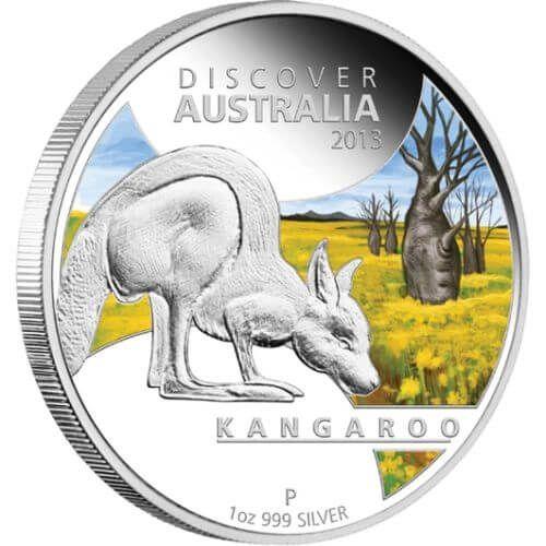 Discover Australia  - Kangaroo Colored  Proof Silver Coin 1$ Australia 2013