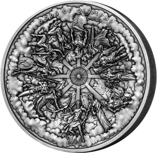 """Cook Islands 2016 50$ Multiple Layer Kilo Coin """"Gods of Olympus"""" Antique finish Silver Coin"""
