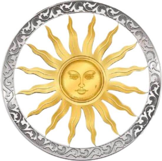 Sun Symbols of Life 0.5g Piedfort Gold & 6.6g Silver Coin 10$ Barbados 2019