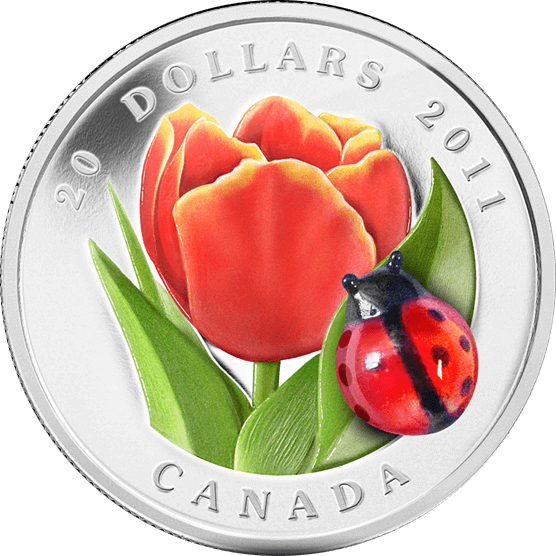 Tulip with Venetian Glass Ladybug (2011) Proof Silver Coin 20$ Canada 2011