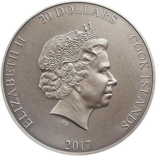 God Quetzalcoatl Aztec 3 oz Antique finish Silver Coin 20$ Cook Islands 2017