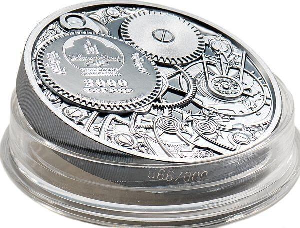 Mechanical Bee Clockwork Evolution 3 oz Black Proof Silver Coin 2000 togrog Mongolia 2020